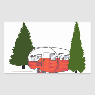 Vintage Camping Rectangular Sticker