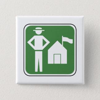 Vintage Camping Sign 15 Cm Square Badge