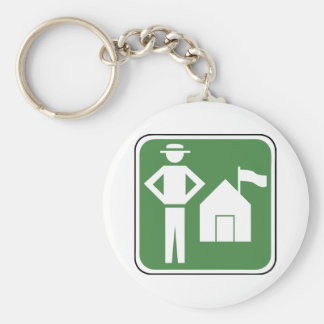 Vintage Camping Sign Basic Round Button Key Ring