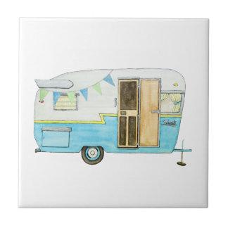 Vintage Camping Trailer Trivet Small Square Tile