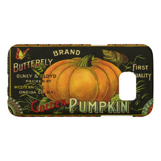 Vintage Can Label Art, Butterfly Pumpkin Vegetable