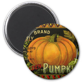 Vintage Can Label Art, Butterfly Pumpkin Vegetable 6 Cm Round Magnet