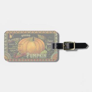 Vintage Can Label Art, Butterfly Pumpkin Vegetable Bag Tag