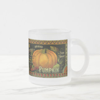 Vintage Can Label Art, Butterfly Pumpkin Vegetable Frosted Glass Coffee Mug