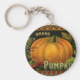 Vintage Can Label Art, Butterfly Pumpkin Vegetable Key Ring