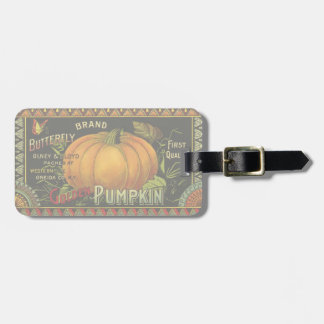 Vintage Can Label Art, Butterfly Pumpkin Vegetable Luggage Tag