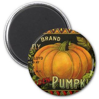 Vintage Can Label Art, Butterfly Pumpkin Vegetable Magnet