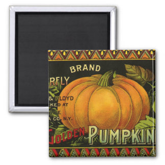 Vintage Can Label Art, Butterfly Pumpkin Vegetable Magnet