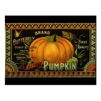 Vintage Can Label Art, Butterfly Pumpkin Vegetable Postcard
