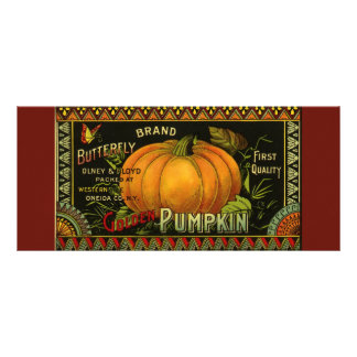 Vintage Can Label Art, Butterfly Pumpkin Vegetable Customized Rack Card