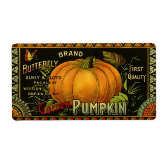 Vintage Can Label Art, Butterfly Pumpkin Vegetable Shipping Label