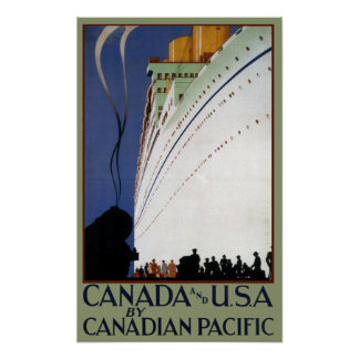 Vintage Canadian Cruise Lines Travel Poster