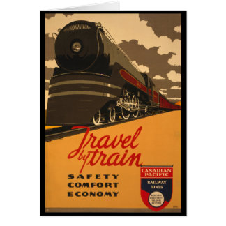 Vintage Canadian Rail Road Trail Poster Greeting Card