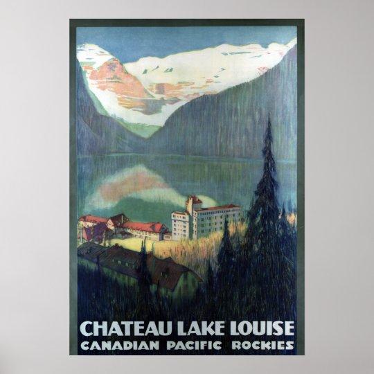 Vintage Canadian Rockies Lake Louise Travel Poster