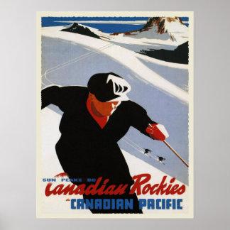 Vintage Canadian Rockies Ski Print