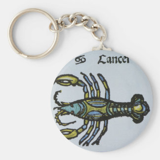 Vintage Cancer the Crab Antique Sign of the Zodiac Basic Round Button Key Ring