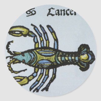 Vintage Cancer the Crab Antique Sign of the Zodiac Round Sticker