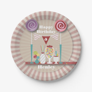 Vintage Candy Buffet Birthday 7 Inch Paper Plate