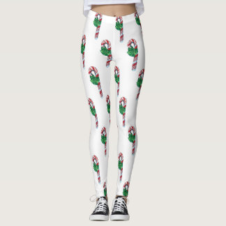 Vintage Candy Cane Holiday Leggings