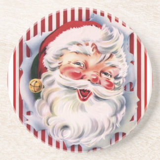 Vintage Candy Cane Santa Coaster