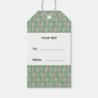 Vintage Candy Canes Pattern Gift Tags