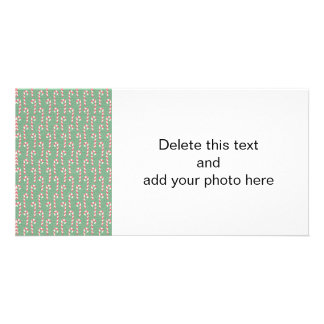 Vintage Candy Canes Pattern Personalized Photo Card
