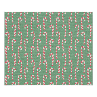 Vintage Candy Canes Pattern Posters