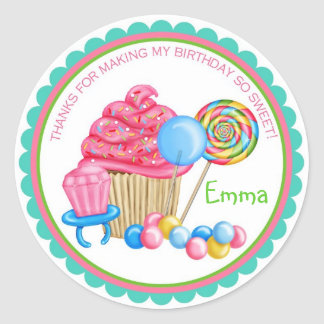 Vintage Candy Parlor Birthday Stickers