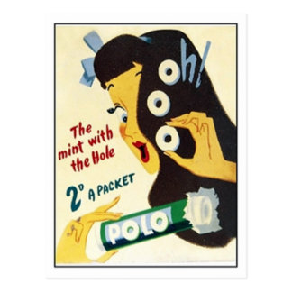 Vintage Candy - The Mint with The Hole Polo Ad Postcard