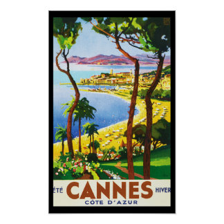 Vintage Cannes Cote D'Azur French Travel Poster