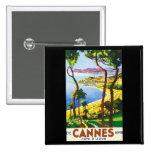 Vintage Cannes Cote D'Azur French Travel Poster 15 Cm Square Badge