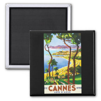 Vintage Cannes Cote D'Azur French Travel Poster Square Magnet