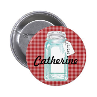 Vintage Canning Jar Red Gingham Design 6 Cm Round Badge