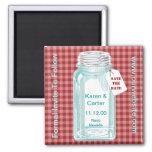 Vintage Canning Jar Red Gingham Design Refrigerator Magnets
