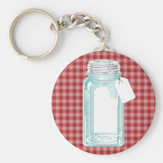Vintage Canning Jar Red Gingham Key Ring