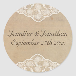 Vintage Canvas and Lace Look Wedding Stickers