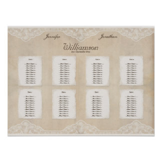 Vintage Canvas Lace Look Seating Chart 8 Tables Posters