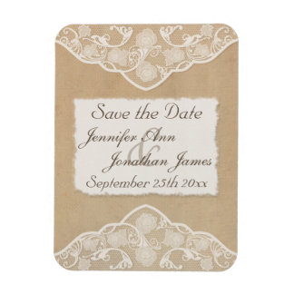 Vintage Canvas, Paper & Lace Look Save the Date Magnet