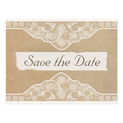 Vintage Canvas, Paper & Lace Look Save the Date Post Cards