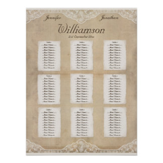 Vintage Canvas Paper Lace Look Seating Chart 4 Posters