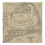 Vintage Cape Cod Cyclist Map (1893) Poster