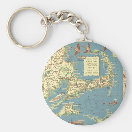 Vintage Cape Cod Map (1940) Basic Round Button Key Ring