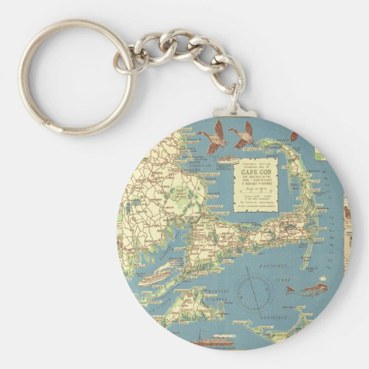 Vintage Cape Cod Map (1940) Key Ring