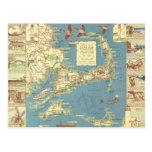 Vintage Cape Cod Map (1940) Postcard