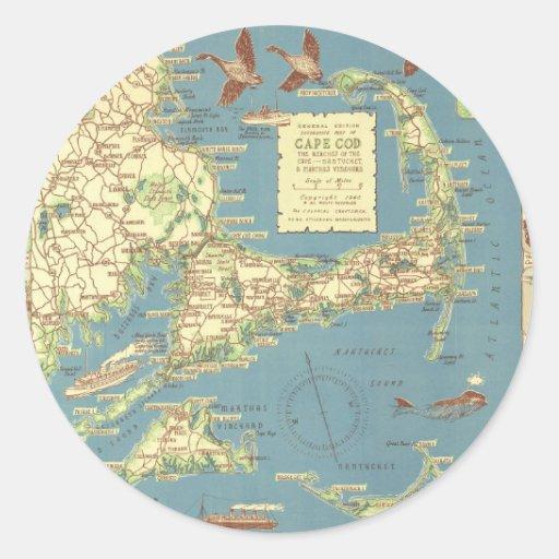 Vintage Cape Cod Map (1940) Round Sticker