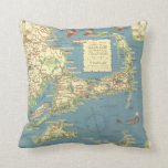 Vintage Cape Cod Map (1940) Throw Pillows