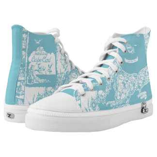 Vintage Cape Cod Map High Top Printed Shoes