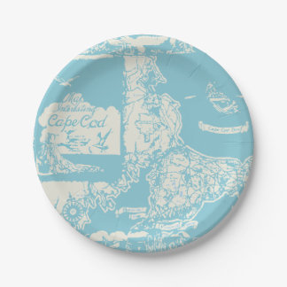 Vintage Cape Cod Map 7 Inch Paper Plate
