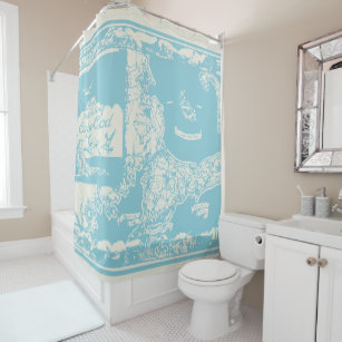 Vintage Cape Cod Map Shower Curtain