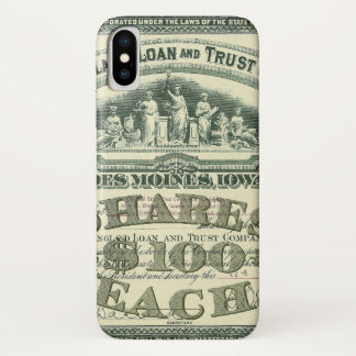 Vintage Capital Stock Certificate Business Finance iPhone X Case